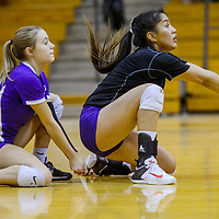 Kirtland Central Bronco Shania John (6) bumps up a serve from the Gallup Bengals Thursday at Gallup High School.