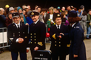 British and French customs officials shake hands during the ceremony to open the Channel Tunnel in Kent, on the UK side. As proof of Anglo-french relations between the two European states, an Entente Cordiale exists in this theatrical joke about bureaucracy between France and Britain. It symbolises the controls on human traffic that will soon pass through the tunnel beneath the sea between England and France, the first physical link between these two land masses since the Ice Age.