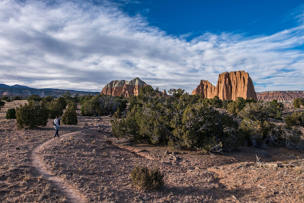 Our first hike in Cathedral Valley was to the entrada sandstone Monoliths in Upper Cathedral Valley.