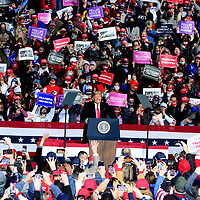 President Donald Trump addresses his supporters during a rally at the John Murtha Johnstown-Cambria County Airport, near Johnstown, Pennsylvania on Tuesday, October 13, 2020.  Photo by Archie Carpenter/UPI