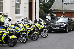 © Licensed to London News Pictures. 09/07/2018. London, UK. Police outriders wait for Foreign Secretary Boris Johnson to Leave his official residence after he delayed leaving for over an hour. Brexit Secretary David Davis has resigned over Prime Minister Theresa May's Brexit Plan. Mr Davis was appointed to the post in 2016 and was responsible for negotiating the UK's EU withdrawal. Photo credit: Peter Macdiarmid/LNP