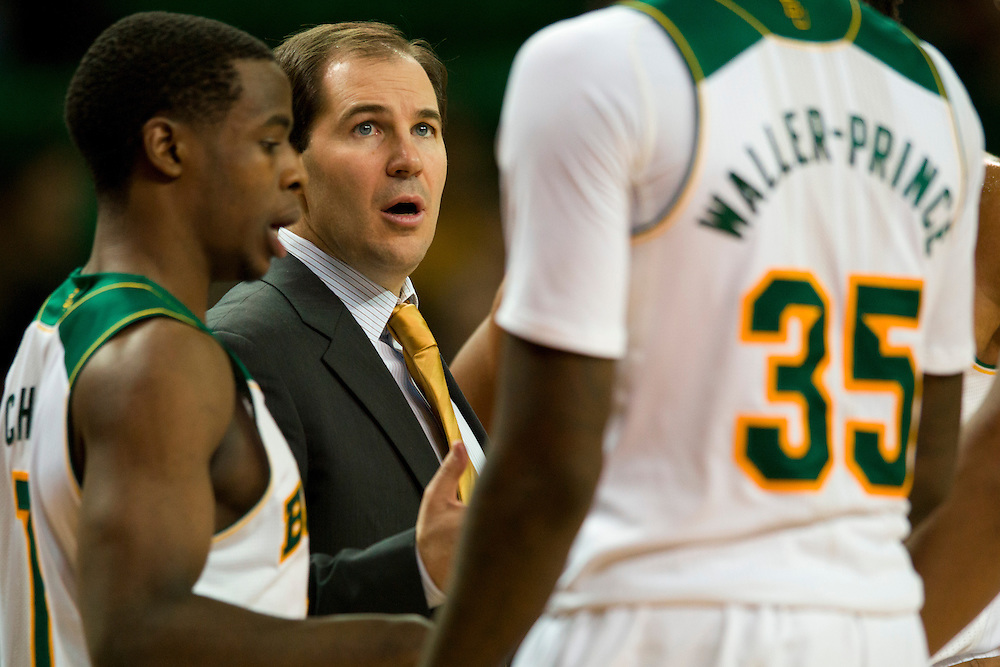 WACO, TX - JANUARY 3: Baylor Bears head coach Scott Drew has words with his team during a timeout against the Savannah State Tigers on January 3, 2014 at the Ferrell Center in Waco, Texas.  (Photo by Cooper Neill) *** Local Caption *** Scott Drew
