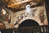 Frescoes on the chapel wall, dating from the 11th and 12th centuries, at Deir Mar Musa in Syria. Deir Mar Musa is a monastery established in the 6th century and dedicated to Saint Moses the Abyssinian.<br /> <br /> (June 2010)