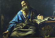 St Mark the Evangelist. From under the table St Mark's symbol, the lion, looks out.  Valentin de Boulogne (1591-1632). Oil on canvas. Private collection.