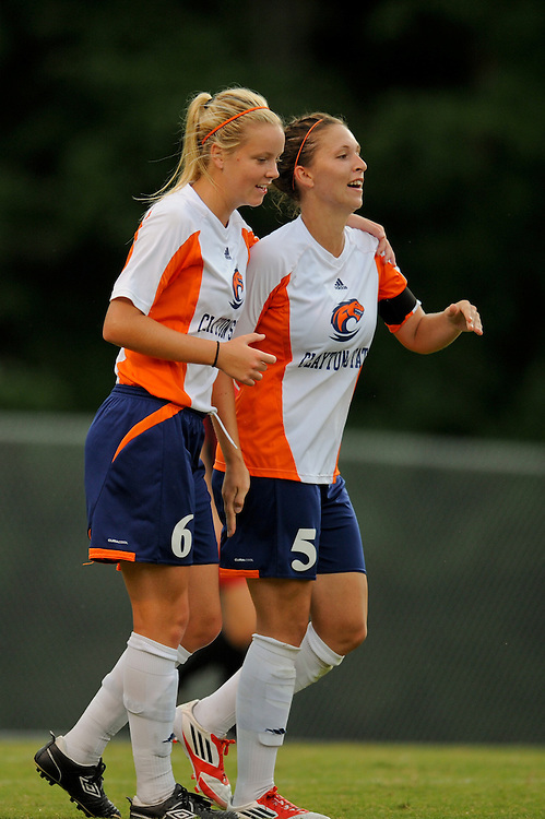 Sept. 15, 2012; Morrow, GA, USA; Clayton State women's soccer players Josefine Holsten and Alicia Robinson against the Flagler at CSU. Photo by Kevin Liles/kdlphoto.com