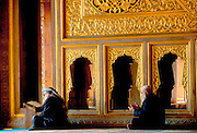TURKEY, ISTANBUL, OTTOMAN Blue Mosque; praying at mimbar