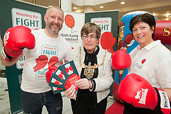 """Dr Rod Lawson Consultant in Respiratory Medicine at Sheffield Teaching Hospitals, Lord Mayor of Sheffield Councillor Dr Sylvia Dunkley & British Lung Foundation Support & Development Manager help to launch of the """"Winning The Fight For Breath  with COPD Campaign"""" in Meadowhall Shopping Centre Sheffield on Saturday 18th February 2012..www.pauldaviddrabble.co.uk..18th February 2012 -  Image © Paul David Drabble"""