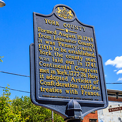 York, PA / USA - May 8, 2016: A historical marker sign about York County, Pennsylvania.
