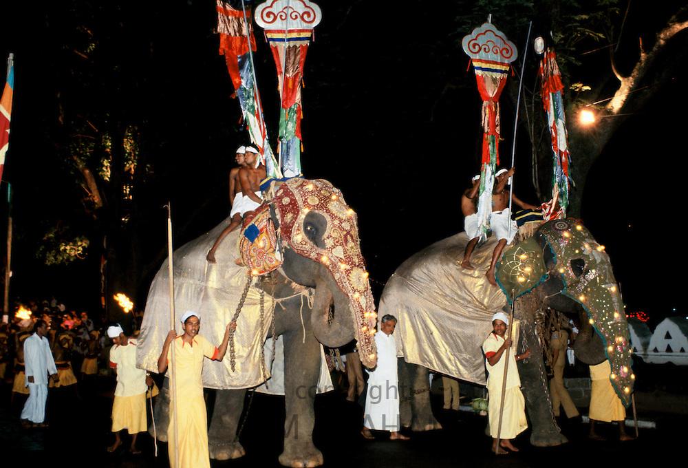 Mahouts handlers with decorated and illuminated elephants In traditional Raja Perahera Caravan Ceremony celebration In Sri Lanka