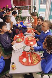 Primary school children eating dinner in canteen,
