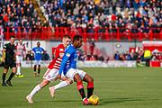Lassana Coulibaly calmly plays the ball back inside during the Ladbrokes Scottish Premiership match between Hamilton Academical FC and Rangers at The Hope CBD Stadium, Hamilton, Scotland on 24 February 2019.