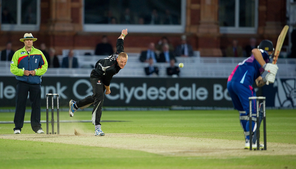 Somerset's Steve Kirby bowls at Middlesex Panthers' Gareth Berg at Lords<br /> <br />  (Photo by Ashley Western/CameraSport) <br /> <br /> County Cricket - Yorkshire Bank 40 - Group C - Middlesex Panthers v Somerset - Tuesday 4th June 2013 - Lords - London<br /> <br /> © CameraSport - 43 Linden Ave. Countesthorpe. Leicester. England. LE8 5PG - Tel: +44 (0) 116 277 4147 - admin@camerasport.com - www.camerasport.com