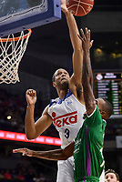 Real Madrid's Anthony Randolph and Unicaja Malaga's Jamar Smith during semi finals of playoff Liga Endesa match between Real Madrid and Unicaja Malaga at Wizink Center in Madrid, May 31, 2017. Spain.<br /> (ALTERPHOTOS/BorjaB.Hojas)
