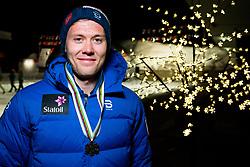 February 2, 2018 - Goms, SWITZERLAND - 180202 Ole JÂ¿rgen Bruvoll of Norway poses with the bronze medal for the men's 15/15 km skiathlon during the FIS U23 Cross-Country World Ski Championships on February 2, 2018 in Gluringen..Photo: Vegard Wivestad GrÂ¿tt / BILDBYRN / kod VG / 170097 (Credit Image: © Vegard Wivestad Gr¯Tt/Bildbyran via ZUMA Press)