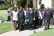 June 30, 2012, Los Angeles, CA: Coffin of Rodney King is placed into hearse for Rodney King Funeral held at Forest Lawn Cemetery at Hall Liberty on June 30, 2012 in Los Angeles, California. Rodney Glen King was an American construction worker who became well known after being beaten harshly by Los Angeles police officers during a traffic stop on 3 March 1991. The non-gulity verdict of accused Police Officers ignited the LA Riots in 1992. (Photo by Terrence Jennings)