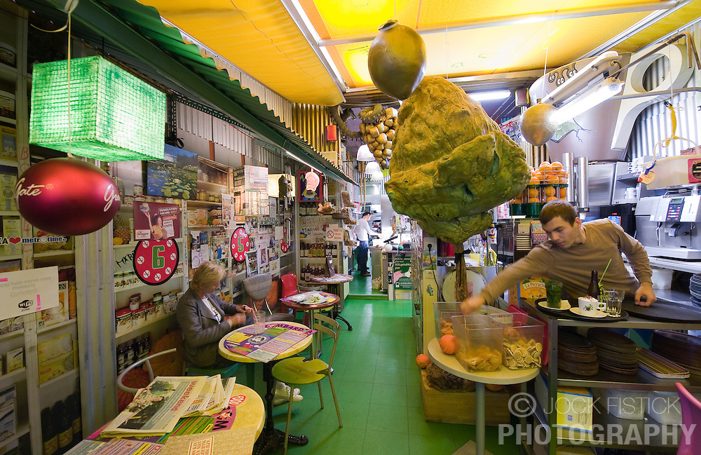 The super trendy and psychedelic Lombardia's Health Food Store and Restaurant featuring their internationally known Ginger Tea, is situated in the heart of the fashion district in Antwerp, Belgium, Saturday, Sept. 13, 2008.  (Photo © Jock Fistick) ..FOR MORE INFO CONTACT ALAIN LOMBARDIA:.MOBILE: +32 472 971 073 .EMAIL: info@lombardia.be