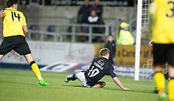 Livingston's Gallagher pushed Falkirk's Craig Sibbald. Falkirk 2 v 0 Livingston, Scottish Championship game played 29/12/2015 at The Falkirk Stadium.
