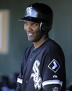 TEMPE, AZ - MARCH 4:  Alexei Ramirez #10 of the Chicago White Sox looks on against the Los Angeles Angels on March 4, 2010 at Tempe Diablo Stadium in Tempe, Arizona. (Photo by Ron Vesely)