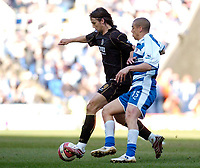 Photo: Leigh Quinnell.<br /> Reading v Portsmouth. The Barclays Premiership. 17/03/2007. Portsmouths Niko Kranjcar collects the ball ahead of Readings James Harper.
