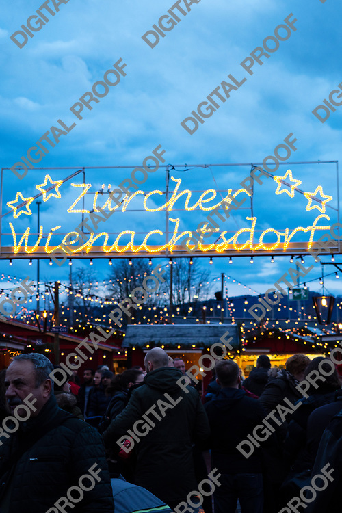 Zurich, Switzerland - December 22, 2018  Led sign for Christmas market held at  Sechseläutenplatz, directly in front of the Opera House
