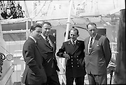 """""""Echo"""" a new ship to sail the Holland Ireland line, visits Dublin Port. A reception was held on board the ship, docked at North Wall..08.08.1961"""