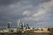 With weeks before the UK's historic Brexit date (January 31st), the Tower of London (far right), the Walkie-Talkie building (far left) plus others in the capital's financial district, the City of London - aka the Square Mile - are seen from across the Thames river, on 16th January 2020, in London, England.
