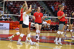 28 AUG 2009: Redbirds (clockwise from libero) Kasey Mollerus, Mallory Leggett, Laura Wakefield, and Kristin Stauter celebrate the point that was match-set.  The Redbirds of Illinois State defeated the Runnin' Bulldogs of Gardner-Webb in 3 sets during play in the Redbird Classic on Doug Collins Court inside Redbird Arena in Normal Illinois
