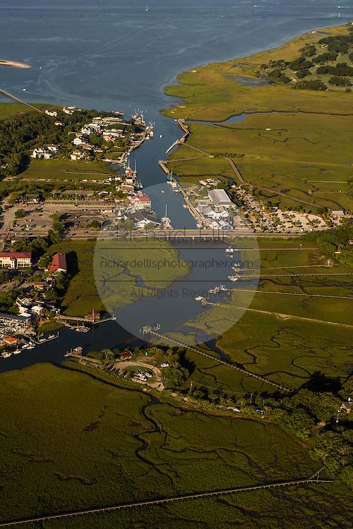 Aerial view of Shem Creek in Mt Pleasant, SC