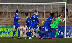06MAR21 Arbroath's Bobby Linn's free kick that lead to their first goal. Arbroath 2 v 4 Queen of the South, Scottish Championship played 6/3/2021 at Arbroath's home ground, Gayfield Park.