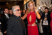 ROBERTO CAVALLI; LADY VICTORIA HERVEY, Party to celebrate the launch of the new Cavalli Store. Roberto Cavalli. Sloane st. London. 17 September 2011. <br /> <br />  , -DO NOT ARCHIVE-© Copyright Photograph by Dafydd Jones. 248 Clapham Rd. London SW9 0PZ. Tel 0207 820 0771. www.dafjones.com.