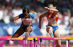 Great Britain's Tiffany Porter (left) and The Netherland's Eefje Boons compete in the women's 100m hurdles during day eight of the 2017 IAAF World Championships at the London Stadium. PRESS ASSOCIATION Photo. Picture date: Friday August 11, 2017. See PA story ATHLETICS World. Photo credit should read: Martin Rickett/PA Wire. RESTRICTIONS: Editorial use only. No transmission of sound or moving images and no video simulation.