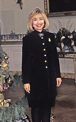 First lady Hillary Rodham Clinton makes remarks in the Blue Room as she hosts a press event to preview the holiday decorations at the White House in Washington, D.C, USA, on December 5, 1994. Photo by Ron Sachs/CNP/ABACAPRESS.COM