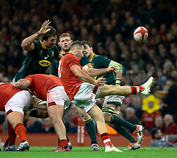 Gareth Davies of Wales clears<br /> <br /> Photographer Simon King/Replay Images<br /> <br /> Under Armour Series - Wales v South Africa - Saturday 24th November 2018 - Principality Stadium - Cardiff<br /> <br /> World Copyright © Replay Images . All rights reserved. info@replayimages.co.uk - http://replayimages.co.uk