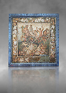 Roman mosaic of a mythical procession, Pompeii, Naples Archaeological Musum, Italy .<br /> <br /> If you prefer to buy from our ALAMY PHOTO LIBRARY  Collection visit : https://www.alamy.com/portfolio/paul-williams-funkystock/roman-mosaic.html - Type -   Naples    - into the LOWER SEARCH WITHIN GALLERY box. Refine search by adding background colour, place, museum etc<br /> <br /> Visit our ROMAN MOSAIC PHOTO COLLECTIONS for more photos to download  as wall art prints https://funkystock.photoshelter.com/gallery-collection/Roman-Mosaics-Art-Pictures-Images/C0000LcfNel7FpLI