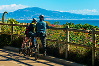 Bicycling along Channel Drive, Montecito (Santa Barbara), California USA.