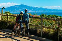 Bicycling along Channel Drive, Montecito (Santa Barbara), California USA.