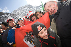 Fans of Austria at Flying Hill Team in 3rd day of 32nd World Cup Competition of FIS World Cup Ski Jumping Final in Planica, Slovenia, on March 21, 2009. (Photo by Vid Ponikvar / Sportida)