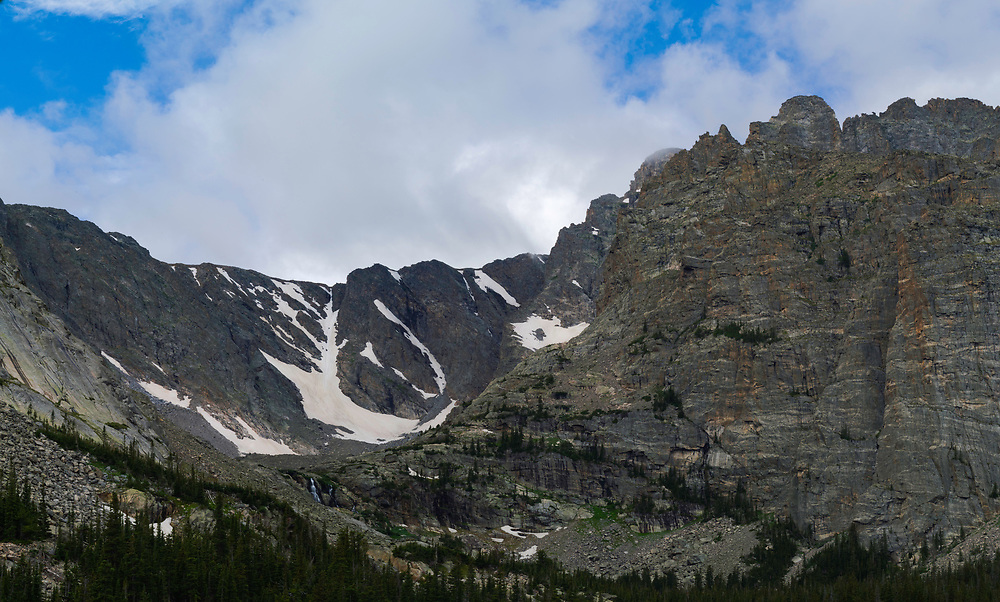 Panoramic view of Timberline Falls and the mountains above The Loch, nestled in Rocky Mountain National Park, Colorado, USA.