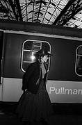 Lena Lovich on the train - Stiff Records 1978