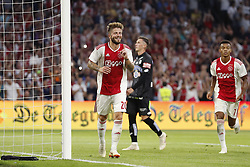 (L-R) Lasse Schone of Ajax, Dario Maresic of Sturm Graz, David Neres of Ajax during the UEFA Champions League second round qualifying first leg match between Ajax Amsterdam and Sturm Graz at the Johan Cruijff Arena on July 25, 2018 in Amsterdam, The Netherlands