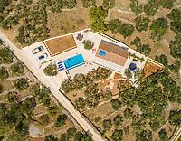 Aerial view of villa with swimming pool, Sumartin, Brac island, Croatia.