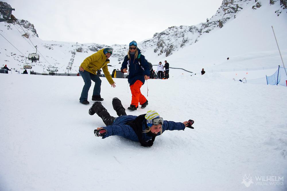 Jenny Jones, Aimee Fuller and Kjersti Oestgaard Buass during Women's Ski Slopestyle Finals at the 2013 X Games Tignes in Tignes, France. ©Brett Wilhelm/ESPN