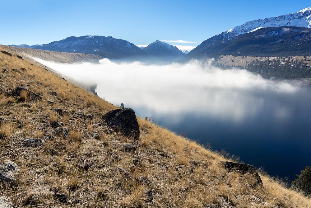 Fog over Wallowa Lake, Oregon.
