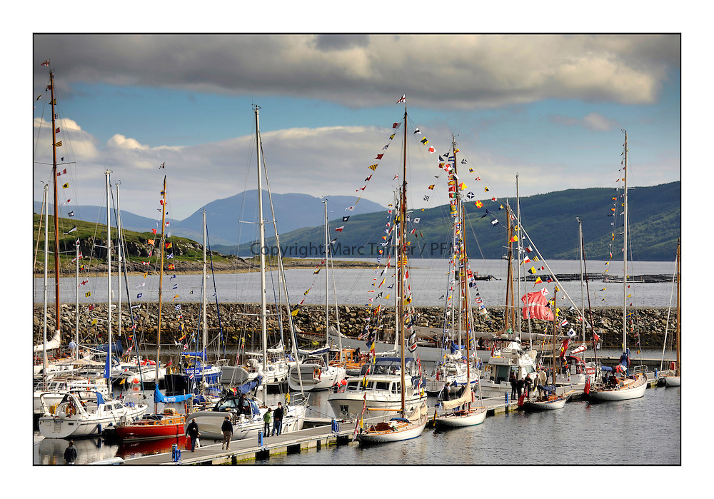 Day five of the Fife Regatta, lay day in Portavadie<br /> <br /> The boats dressed overall for Kentra and Astor in Portavadie Marina<br /> * The William Fife designed Yachts return to the birthplace of these historic yachts, the Scotland's pre-eminent yacht designer and builder for the 4th Fife Regatta on the Clyde 28th June–5th July 2013<br /> <br /> More information is available on the website: www.fiferegatta.com
