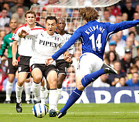 Photo: Daniel Hambury.<br /> Fulham v Everton. The Barclays Premiership.<br /> 27/08/2005.<br /> Fulham's Steed Malbranque shows fear as Everton's Kevin Kilbane takes a shot.