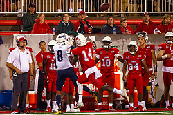 NORMAL, IL - September 21: Stacy Chukwumezie looks for a pass while covered by Luther Kirk during a college football game between the ISU (Illinois State University) Redbirds and the Northern Arizona University (NAU) Lumberjacks on September 21 2019 at Hancock Stadium in Normal, IL. (Photo by Alan Look)