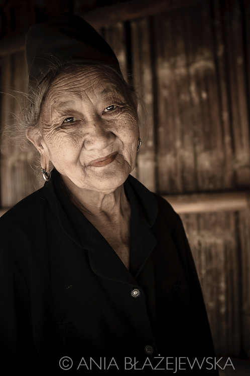 Laos. Portrait of a Hmong woman living in a small village in the Luang Prabang area.