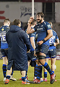 Sale Sharks Lood De Jager celebrates with prop Coenie Oosthuizen after a Gallagher Premiership Rugby Union match won by Sharks 39-0, Friday, Mar. 6, 2020, in Eccles, United Kingdom. (Steve Flynn/Image of Sport)