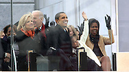 """President Elect Barack Obama and his wife Michelle and Jill Biden and Vice President elect Joe Biden  at the """"We Are One""""  The Obama Inaugural Celebration at the Lincoln Memorial on January 18, 2009.  Photo by Dennis Brack"""