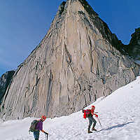 MOUNTAINEERING. Climbers on Crescent Glacier, below Snowpatch Spire in the Bugaboo Mountains, British Coumbia, Canada.